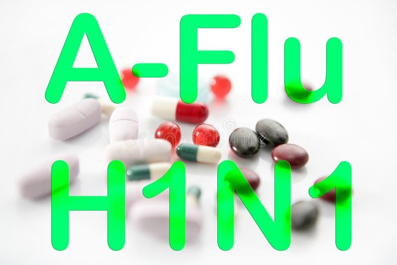 Medicine pills A h1n1 treatment vaccine stock photos