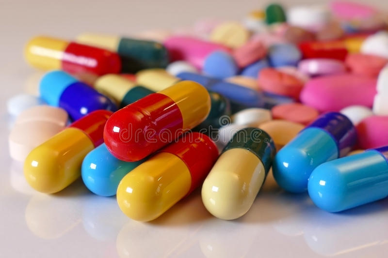 Medicine pills. Lots of different medicine drugs, pills, tablets, capsules stock image