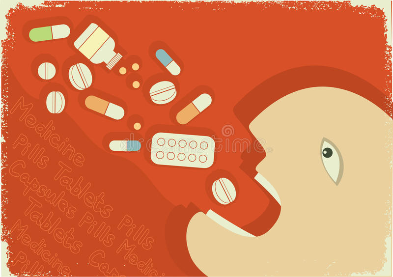 Medicine poster with man and pills.Vector grunge royalty free illustration