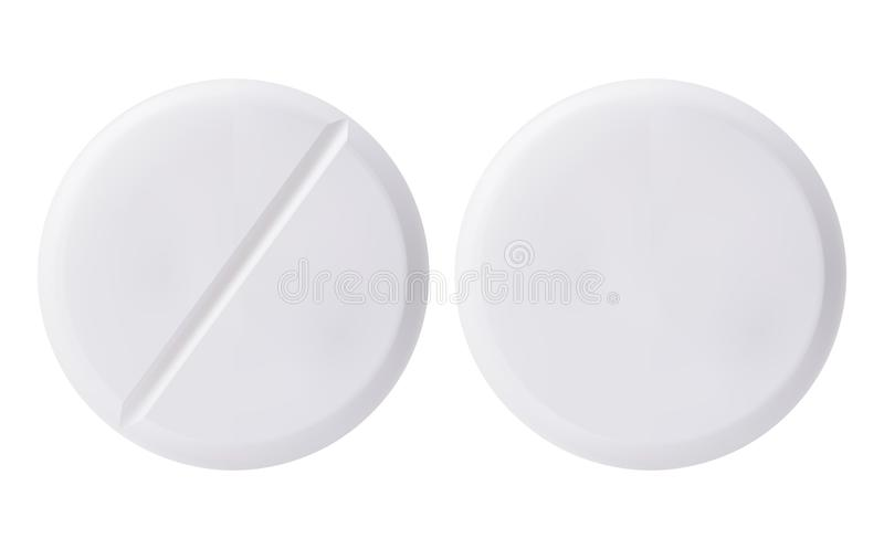 Medicine round white cure pills, aspirin, antibiotics, vitamin and painkiller drugs. White medicine pills and tablets isolated on white background stock illustration
