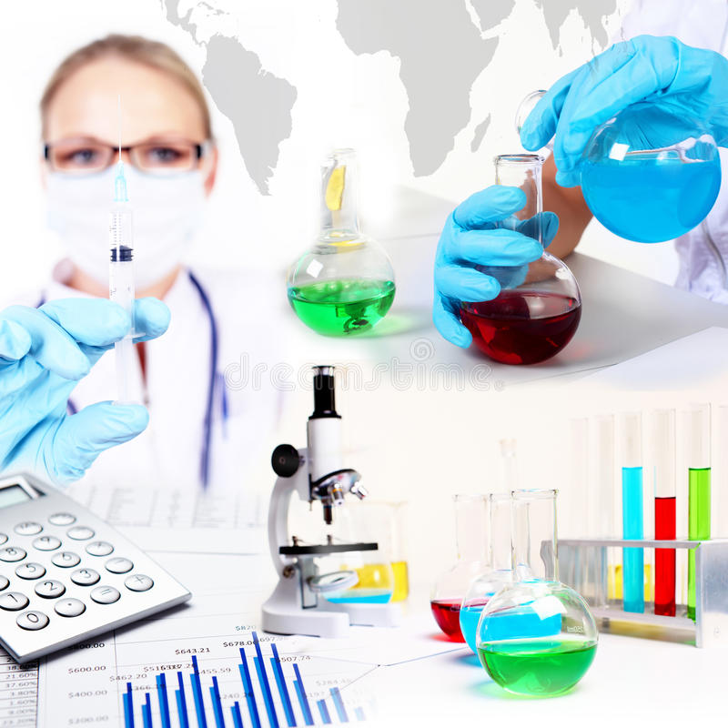 Medicine science and business collage stock photos