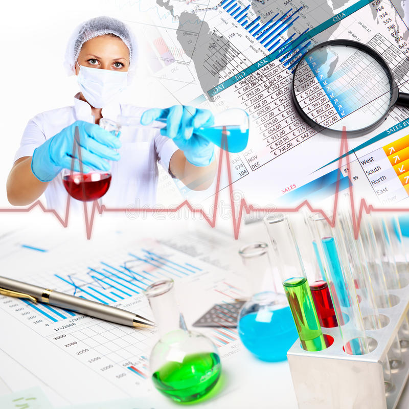 Medicine science and business collage stock photography