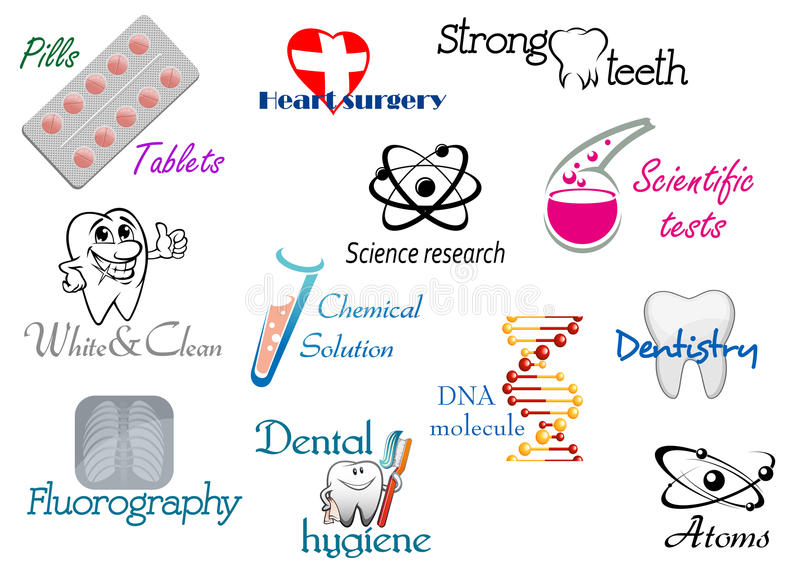 Medicine and science symbols stock photography