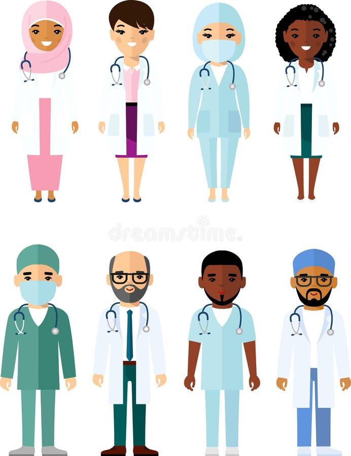 Medicine set of medical people, doctor and nurse stock illustration