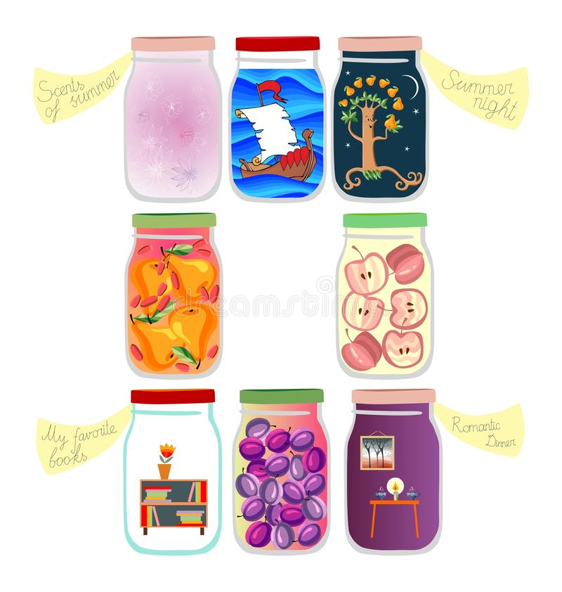 Medicine for the soul: memories of voyage, summer night, favorite books, scents of summer, romantic dinner and a few jars of jam royalty free illustration