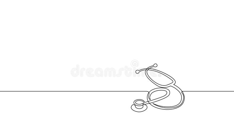 Medicine stethoscope single continuous line art. Health care World Day medical science research doctor nurse equipment royalty free illustration