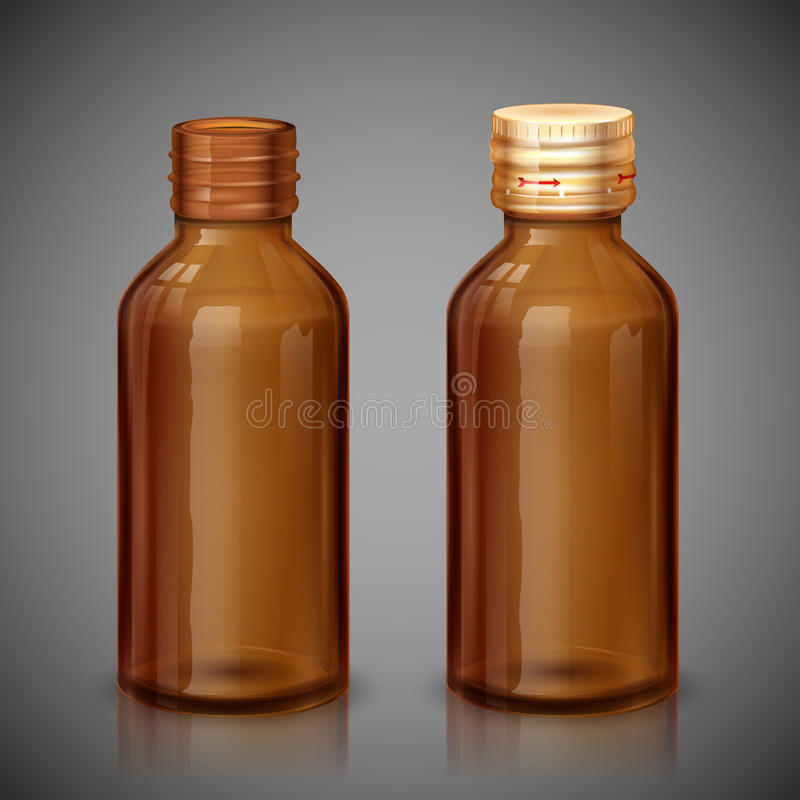 Medicine Syrup Bottle. Illustration of medical syrup bottle with cap vector illustration