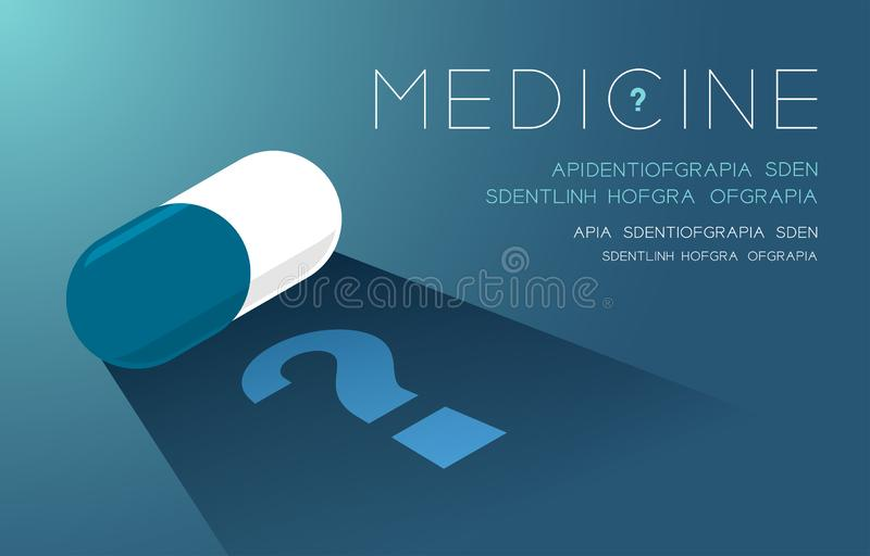 Medicine tablet with shadow and Question mark sign, Doubt problem concept idea poster or flyer template layout design illustration. Isolated on green gradients vector illustration