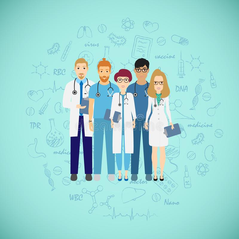 Medicine team concept with different doctors. Group of practitioner doctors young man and woman standing together stock illustration