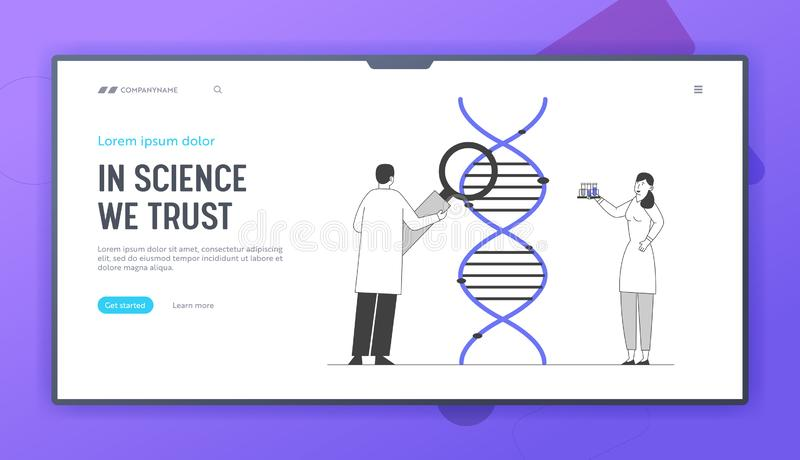 Medicine Technology Genetic Testing Website Landing Page. Scientists Working with Dna Looking through Magnifying Glass. Laboratory Research Web Page Banner stock illustration