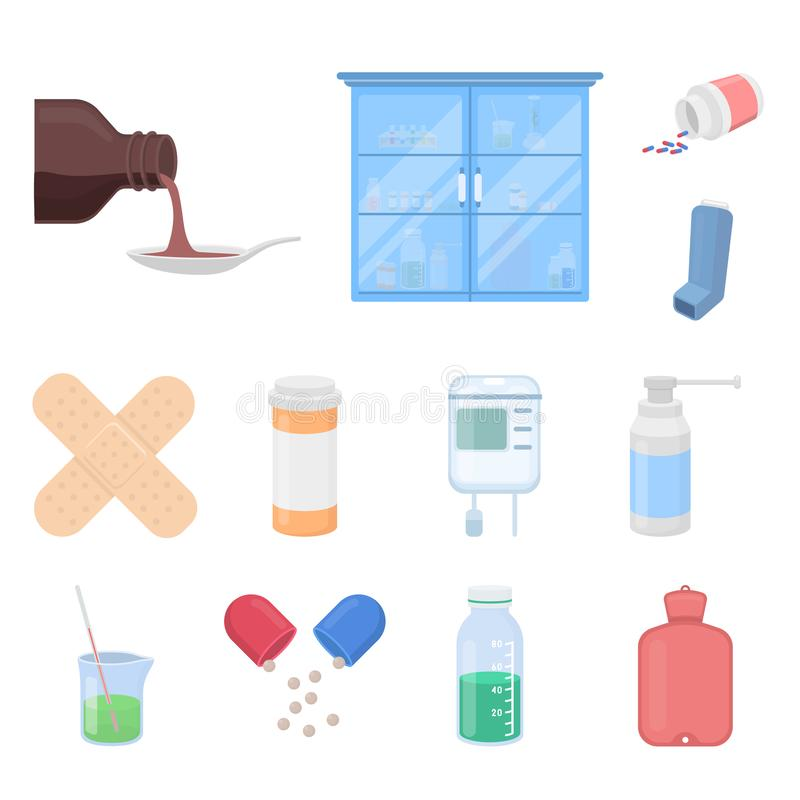 Medicine and treatment cartoon icons in set collection for design. Medicine and equipment vector symbol stock web. Medicine and treatment cartoon icons in set vector illustration
