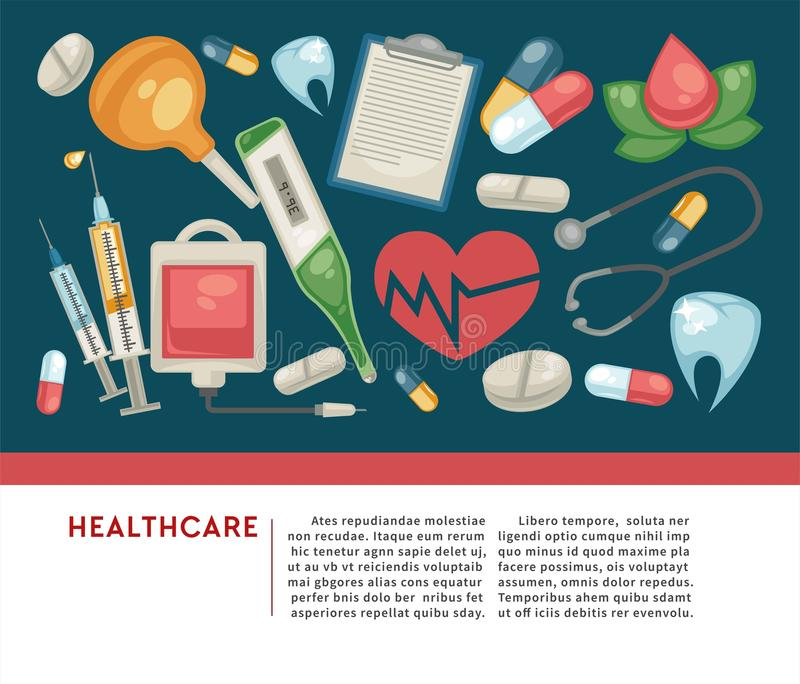 Healthcare banner pills and medical tools medicine and treatment royalty free illustration