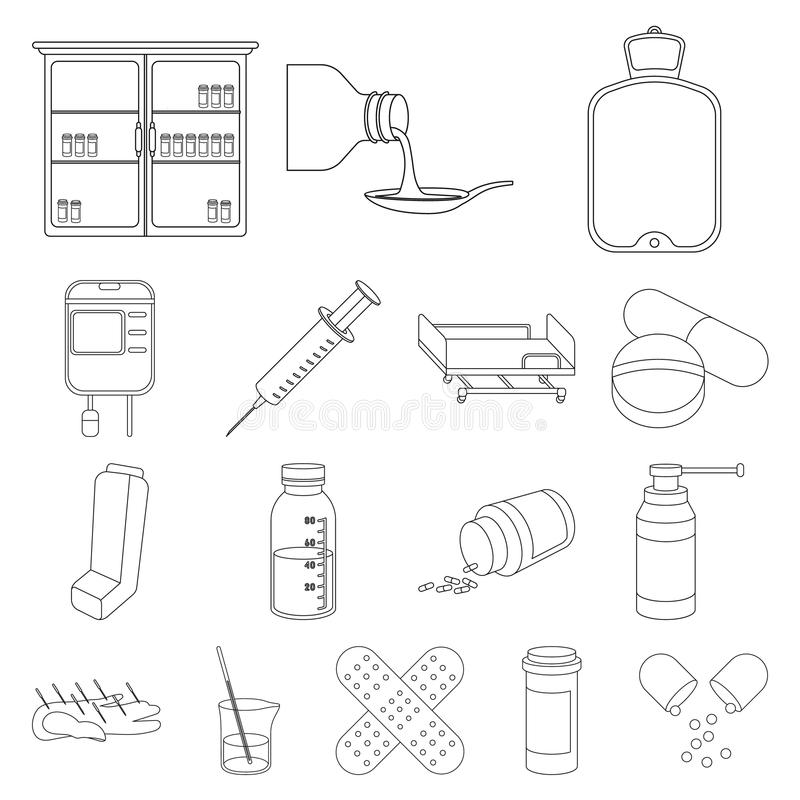 Medicine And Treatment Outline Icons In Set Collection For Design