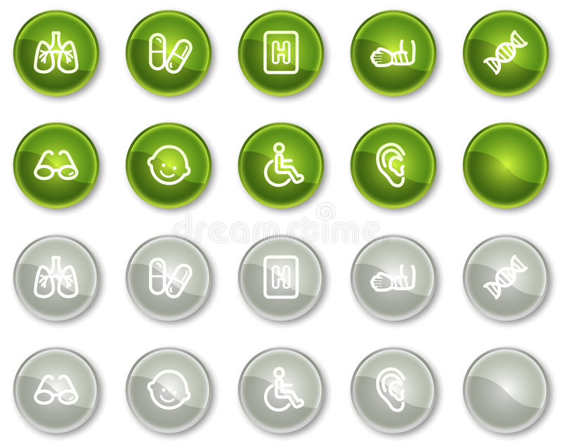 Medicine Web Icons Set 2, Green Circle Buttons Stock Images