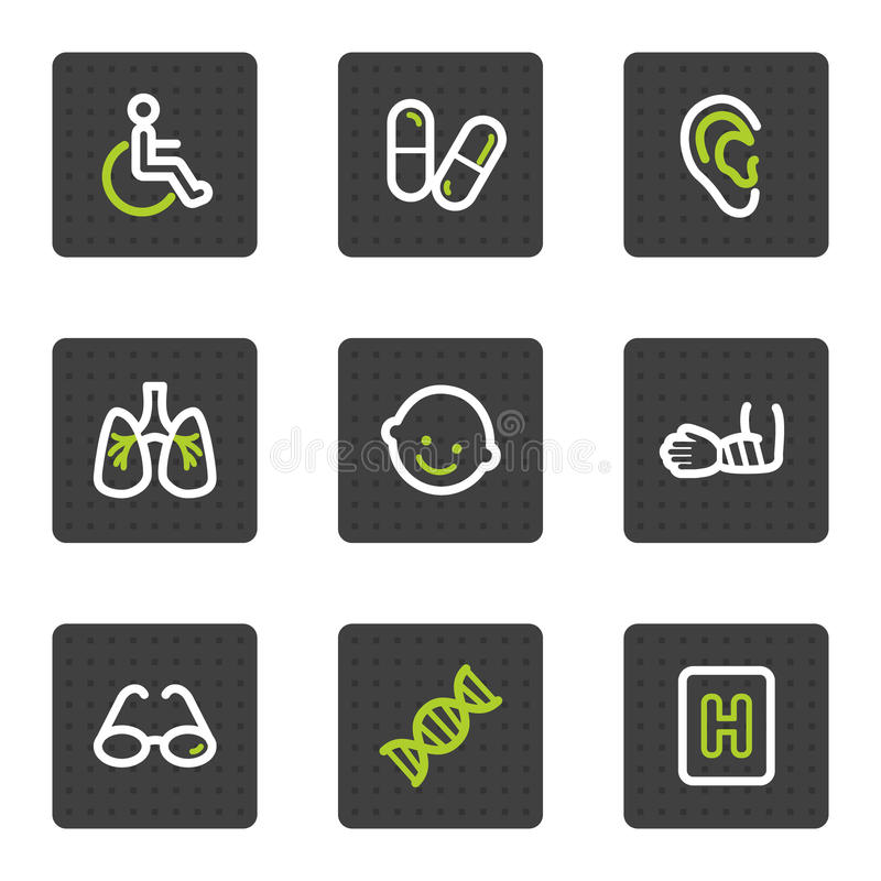 Download Medicine Web Icons Set 2, Grey Square Buttons Stock Vector - Illustration: 13201973