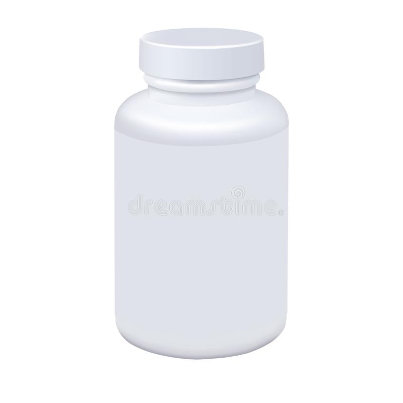 Medicine white pill bottle isolated on white background. Photorealistic vector stock illustration