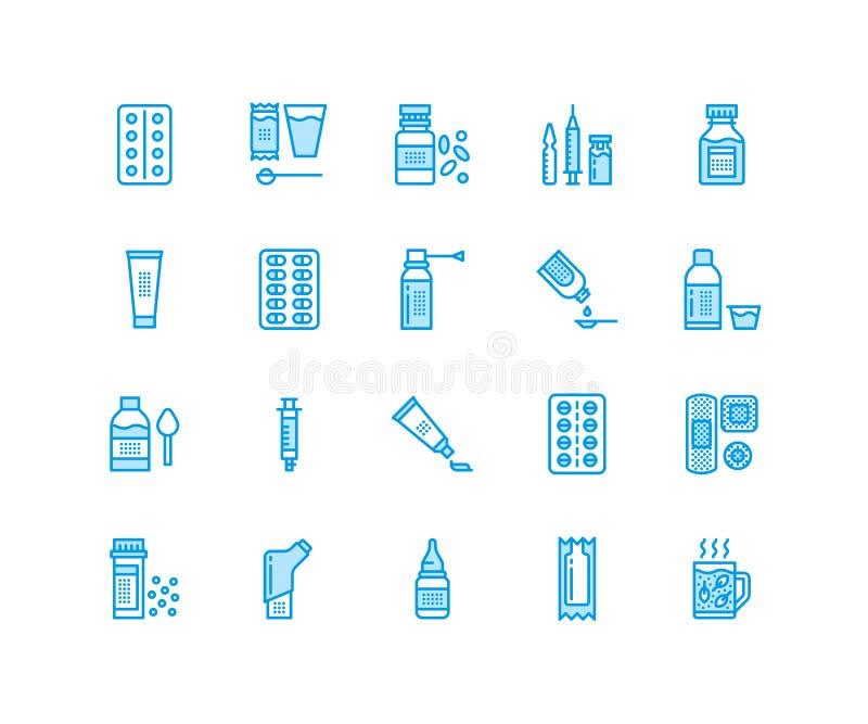 Mediciner linje symboler för doseringformer Apotekmedikament, minnestavla, kapslar, preventivpillerar, antibiotikummar, vitaminsm vektor illustrationer