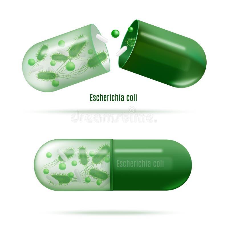 Mediciner med den realistiska vektorn för Probiotic bakterier vektor illustrationer