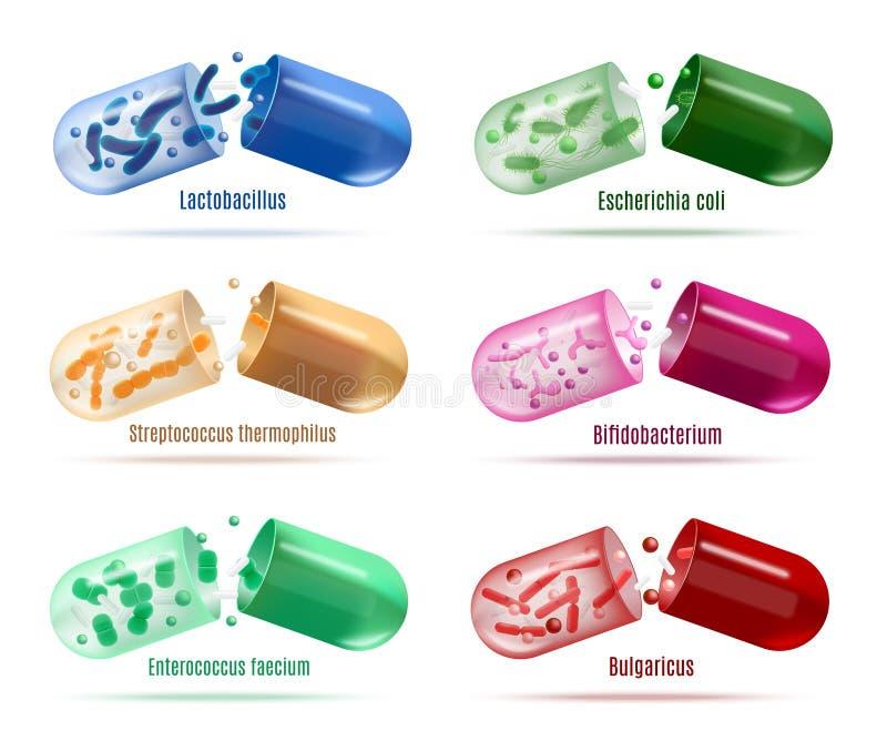 Mediciner med uppsättningen för Probiotics bakterievektor stock illustrationer