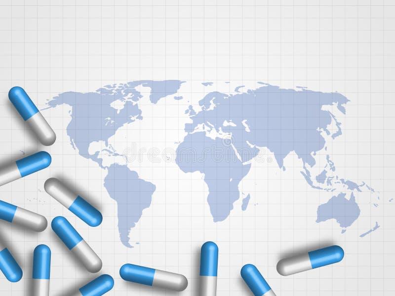 Mediciner på världskarta som bakgrund föreställer läkarundersökning- och hälsovårdbegrepp teknologi för planet för telefon för jo vektor illustrationer