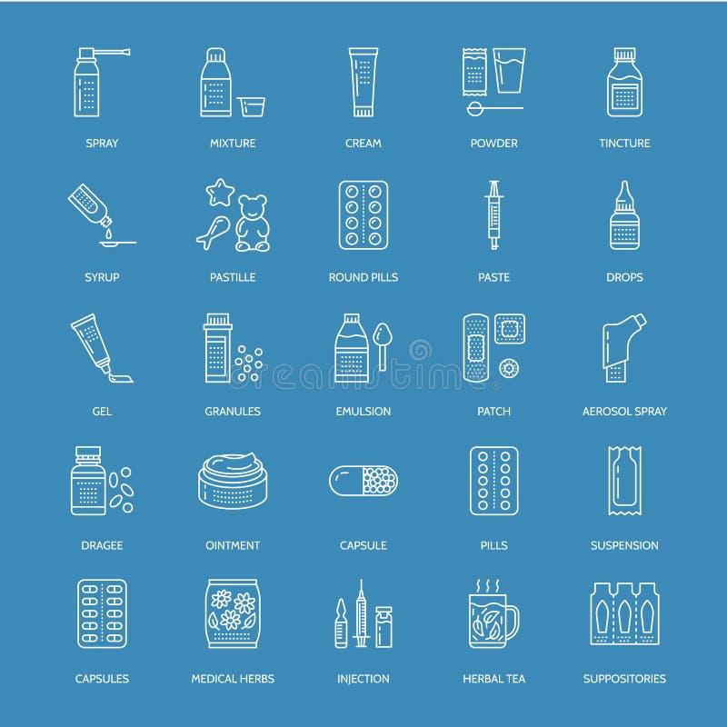 Medicines, dosage forms blue line icons. Pharmacy medicament, tablet, capsules, pills, antibiotics, vitamins. Painkillers, aerosol spray. Medical threatment stock illustration