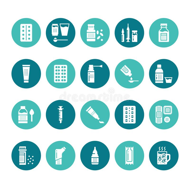 Medicines, dosage forms glyph icons. Pharmacy, tablet, capsules, pills, antibiotics, vitamins, painkillers Medical royalty free illustration