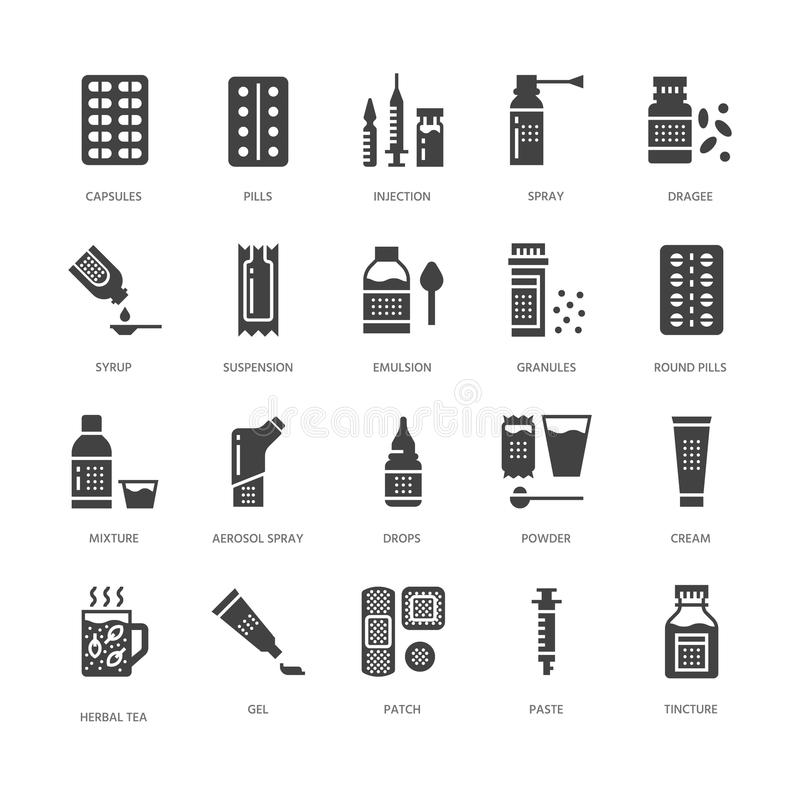 Medicines, dosage forms glyph icons. Pharmacy, tablet, capsules, pills, antibiotics, vitamins, painkillers. Medical royalty free illustration