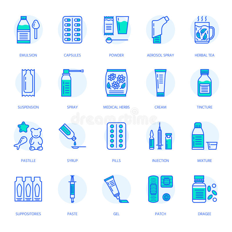 Medicines, dosage forms line icons. Pharmacy medicaments, tablet, capsules, pills, antibiotics, vitamin, painkillers. Medicines, dosage forms line icons royalty free illustration