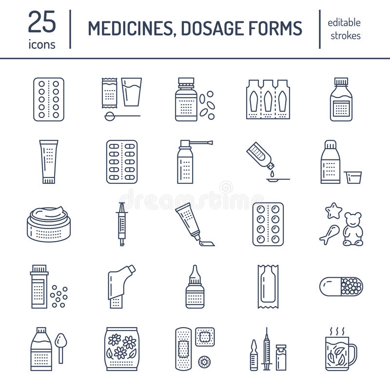 Medicines, dosage forms line icons. Pharmacy medicaments, tablet, capsules, pills, antibiotics, vitamins, painkillers vector illustration