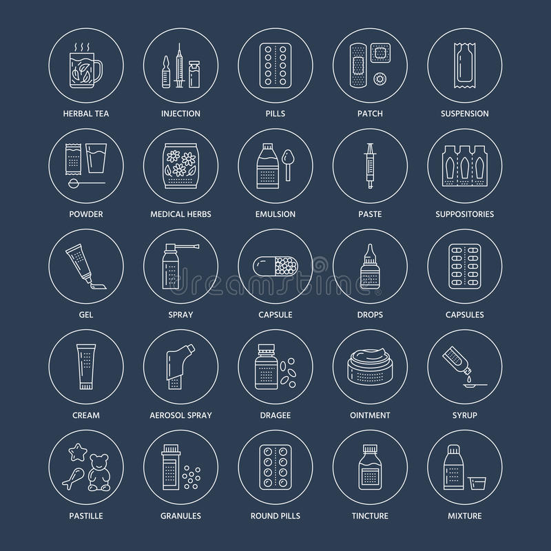 Medicines, dosage forms line icons. Pharmacy medicaments, tablet, capsules, pills, antibiotics, vitamins, painkillers stock illustration