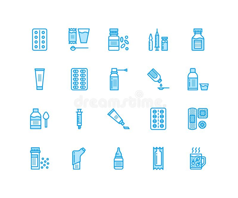 Medicines, dosage forms line icons. Pharmacy medicaments, tablet, capsules, pills, antibiotics, vitamins painkillers vector illustration