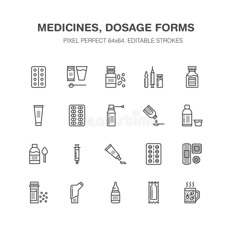 Medicines, dosage forms line icons. Pharmacy medicaments, tablet, capsules, pills, antibiotics, vitamins, painkillers royalty free illustration