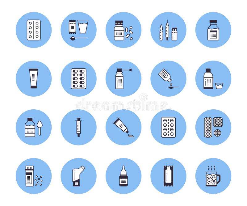 Medicines, dosage forms vector line icons. Pharmacy medicaments, tablet, capsule, pill, antibiotics, vitamins royalty free illustration