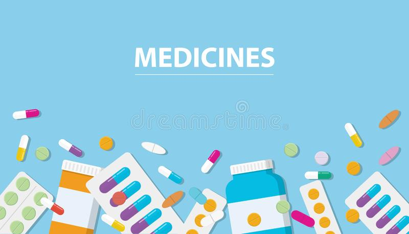 Medicines drug collection with banner free space with blue background stock illustration