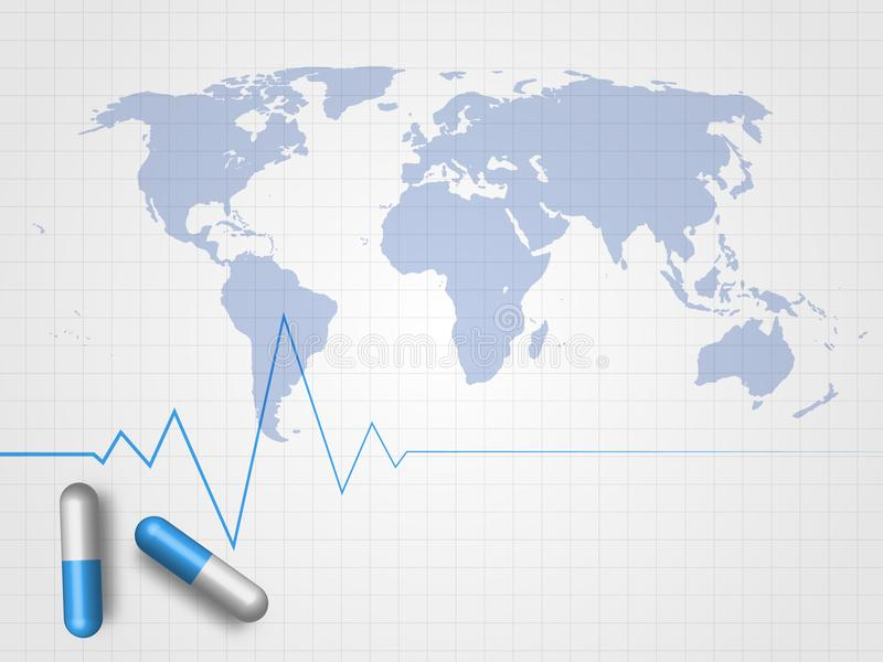 Medicines and heartbeat line on world map and grid background download medicines and heartbeat line on world map and grid background represent medical concept and global gumiabroncs Gallery