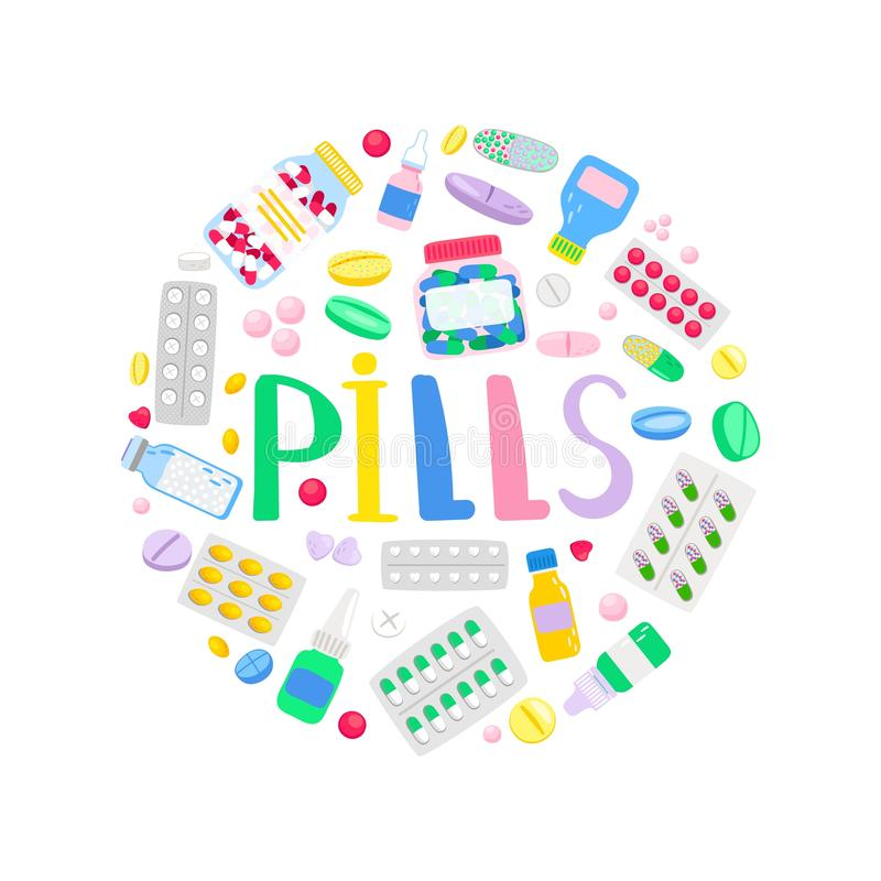 Medicines and medications round banner royalty free illustration