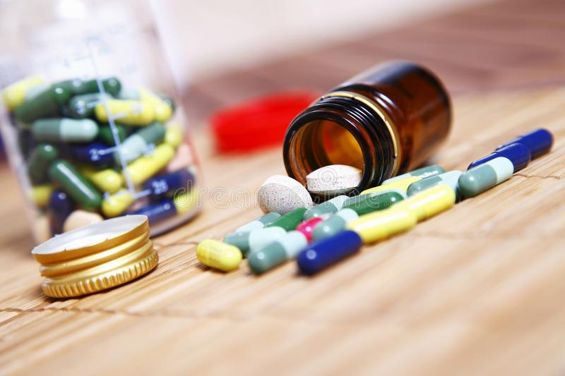 Medicines overturned the table royalty free stock photo