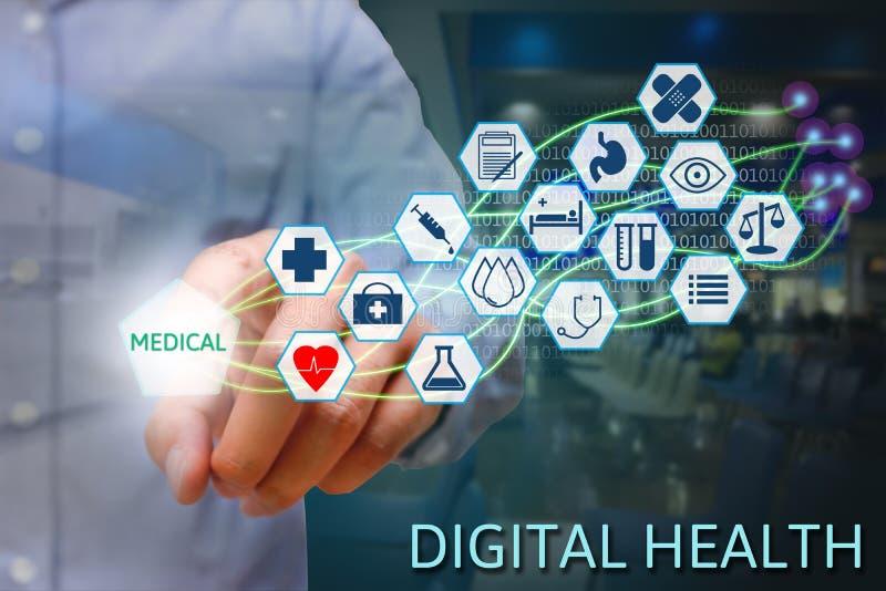 Medicinhand som pekar medicinsk text på skärmen med modern fiber royaltyfri fotografi