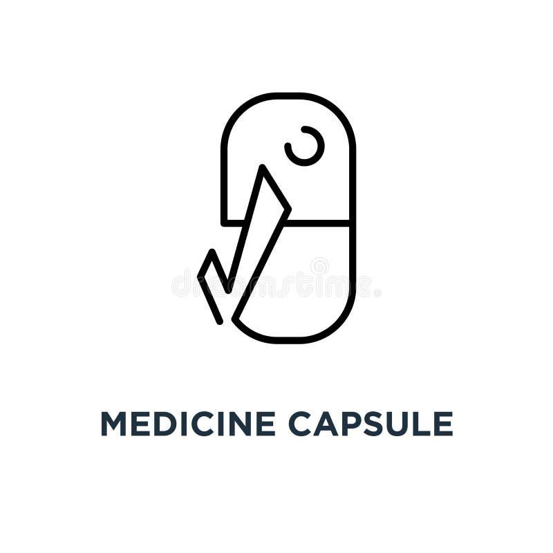 Medicinkapsel med kontrollsymbolen Linjär enkel beståndsdelillustra royaltyfri illustrationer