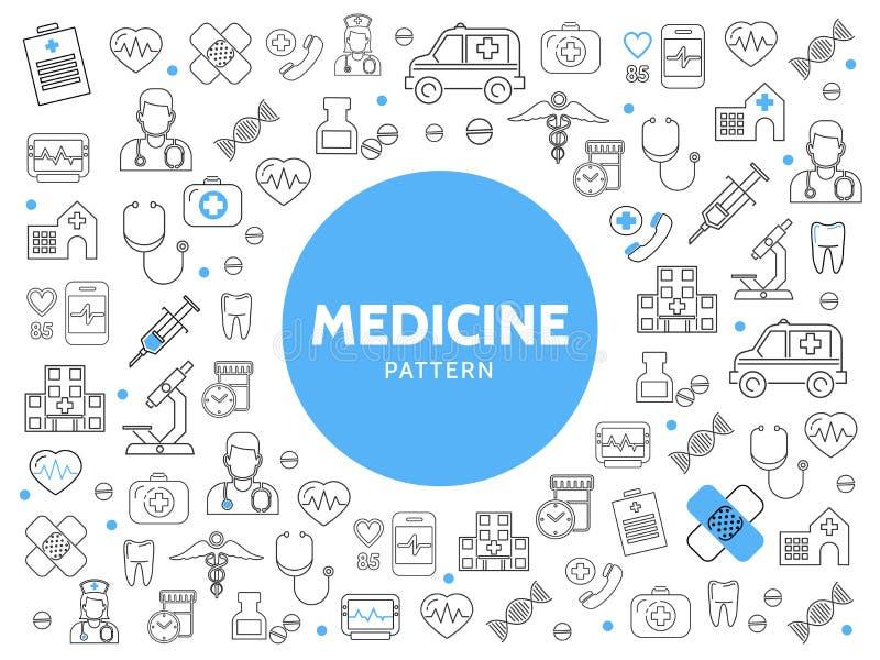 Medicinlinje symbolsmodell stock illustrationer