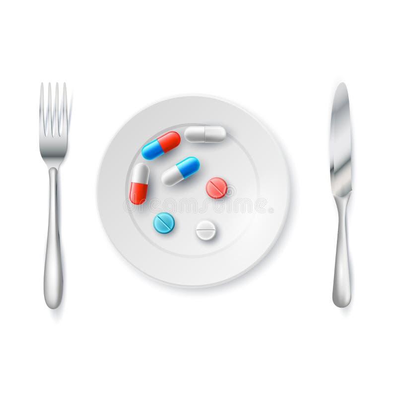 Medicinpiller eller kapslar på en platta med en gaffel också vektor för coreldrawillustration Drogrecept för behandlingfetma vektor illustrationer