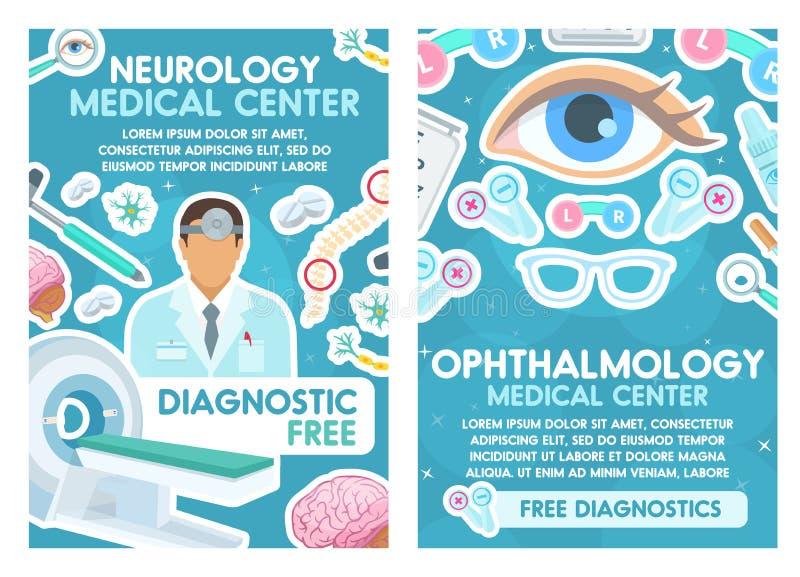 Medicinsk affisch för neurologi- och oftalmologidoktorer royaltyfri illustrationer