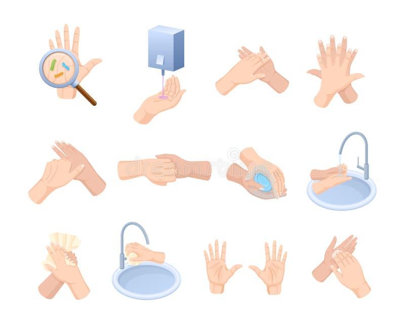 Medicinsk anvisning arrangerar händer för riktig omsorg, tvagningen, bakterier för förebyggande underhåll vektor illustrationer