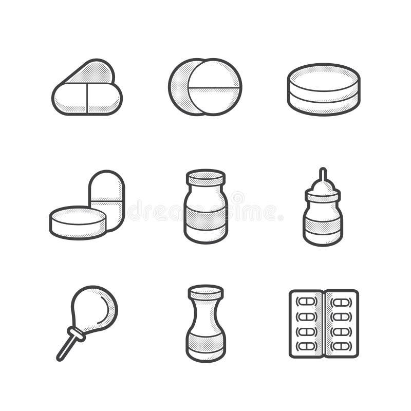Medicinsk apotekare Icons arkivbild