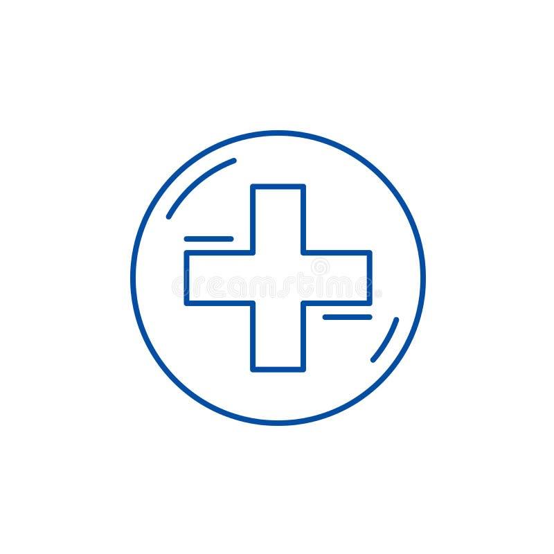 Medicinsk arg linje symbolsbegrepp Medicinskt argt plant vektorsymbol, tecken, översiktsillustration stock illustrationer