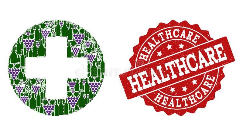 Medicinsk arg mosaik av vinflaskor och druvan och Grungestämpeln stock illustrationer