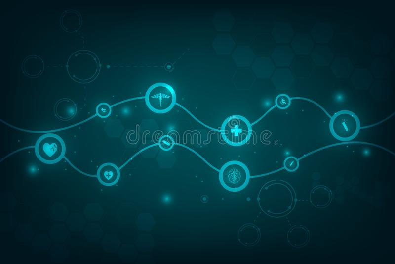 Medicinsk backgroun för modell för begrepp för hälsovårdvetenskapsinnovation vektor illustrationer