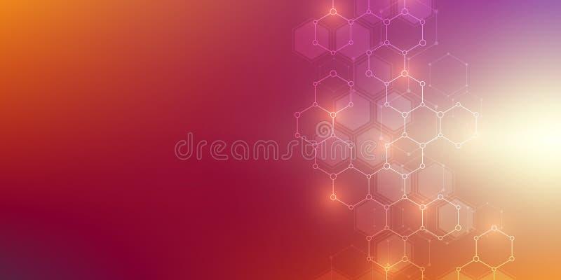Medicinsk bakgrund eller vetenskapsvektordesign Molekylär struktur och kemiska sammansättningar Geometriskt och polygonal vektor illustrationer
