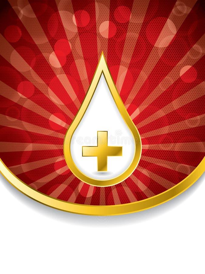 Medicinsk bakgrund med bloddroppe och korset royaltyfri illustrationer