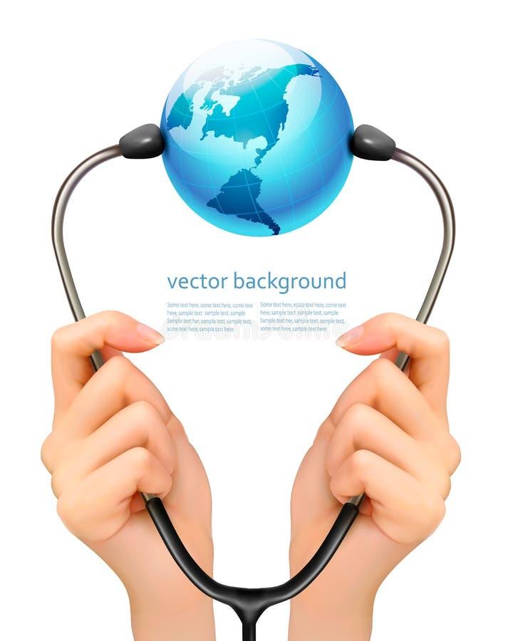 Medicinsk bakgrund med händer som rymmer en stetoskop med jordklotet stock illustrationer